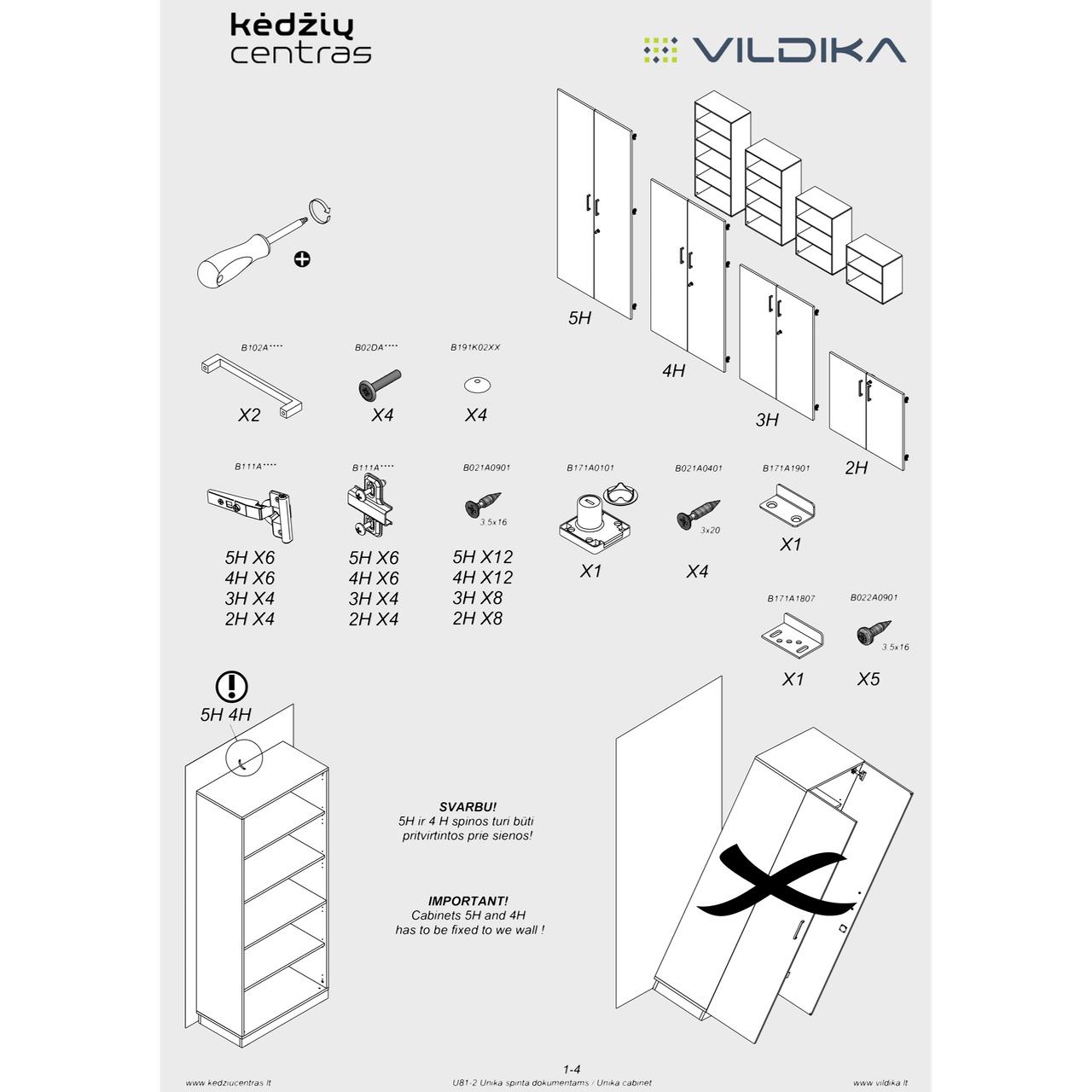 Biuro baldai UNIKA || Uždaros biuro spintos || Suirinkimo instrukcija || Kėdžių centras