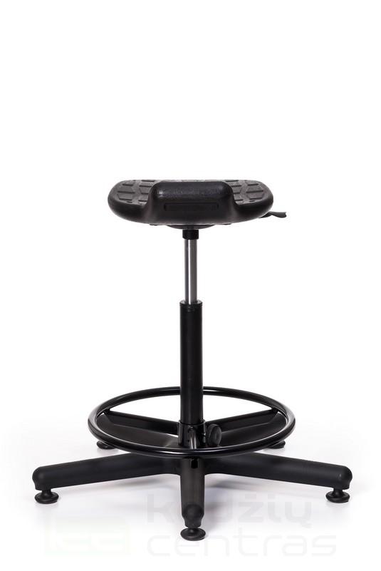 Speciali kėdė WORKER +RB su žiedu kojoms – Juoda PU-Juoda PU-5645
