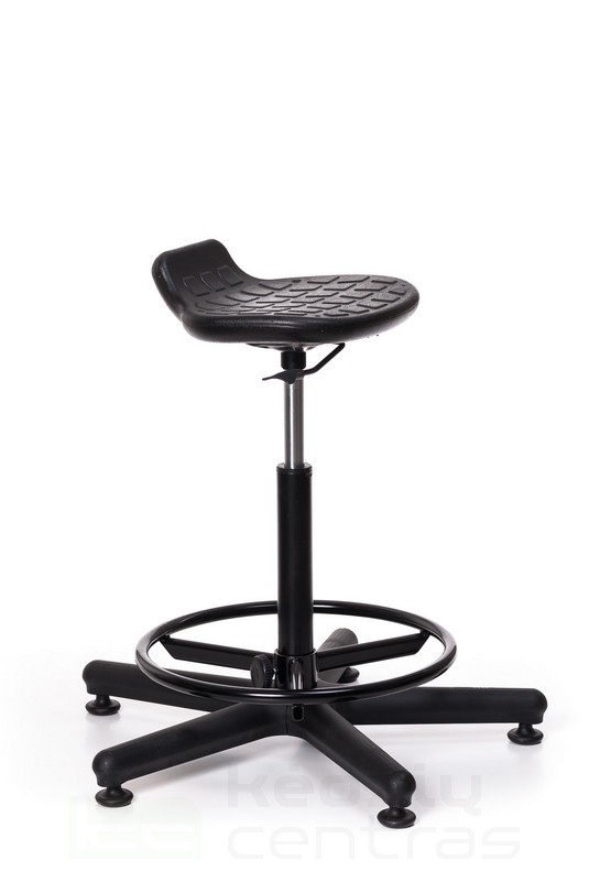 Speciali kėdė WORKER +RB su žiedu kojoms – Juoda PU-Juoda PU-5651