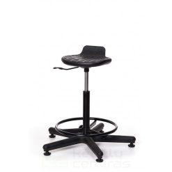 Speciali kėdė WORKER +RB su žiedu kojoms – Juoda PU-0