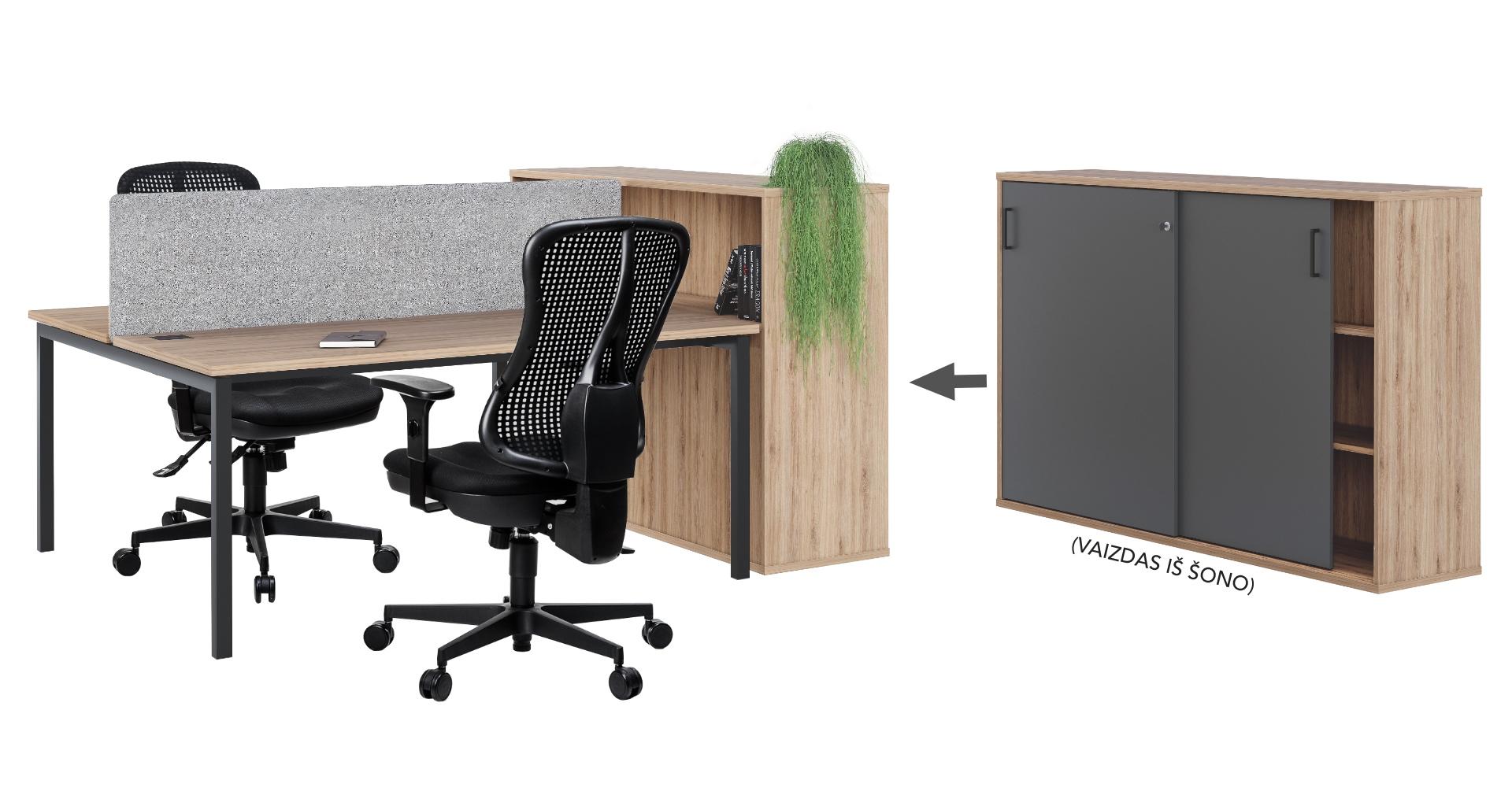 Dviejų darbo vietų baldų komplektas || Dviejų stalų junginys || Biuro kėdės || Dokumentų spinta || Kėdžių centras || Akustinė pertvara