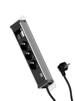 Trijų elektros lizdų rozečių blokas ilgintuvas || Elektros prailgintuvas || Biuro stalas || Biuro baldai || laidų nuvedimo sistema